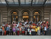 This photograph shows some of the community participants in front of the Public Theater.